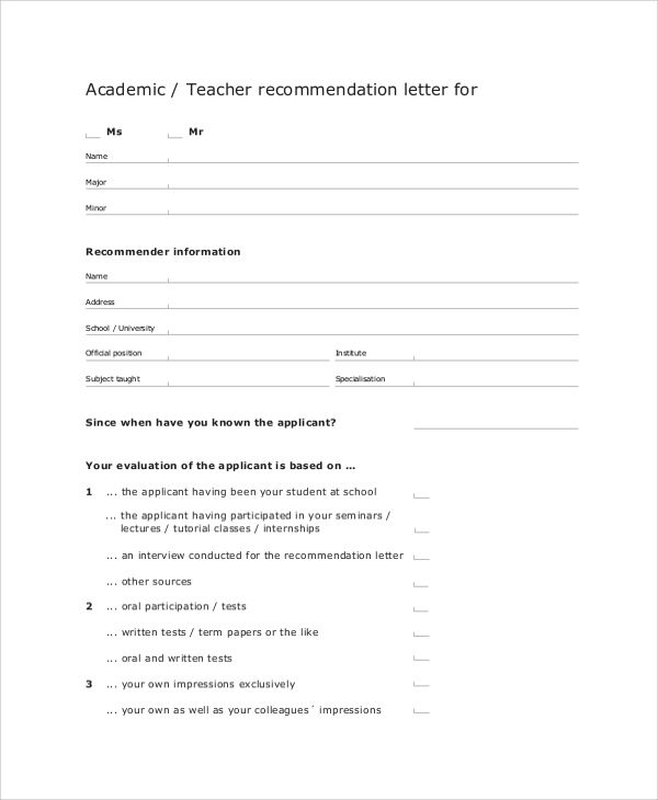 Sample Letter of Recommendation for Teacher - 18+ Documents in - academic reference letter