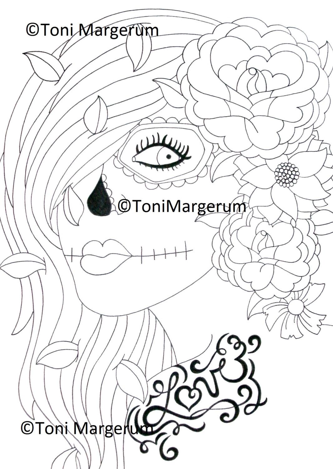 sugar skull digital download instant coloring page