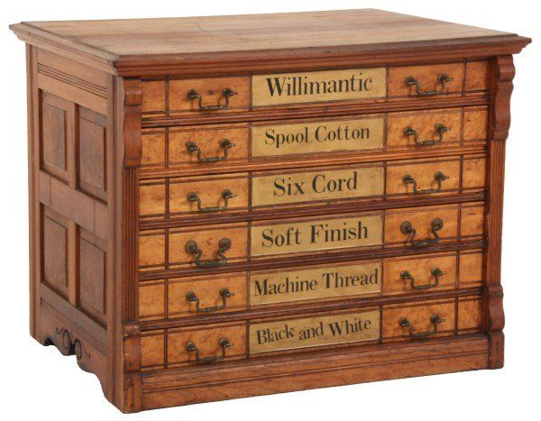 Willimantic 6 Drawer Walnut Spool Cabinet : Lot 23 | Sewing and ...