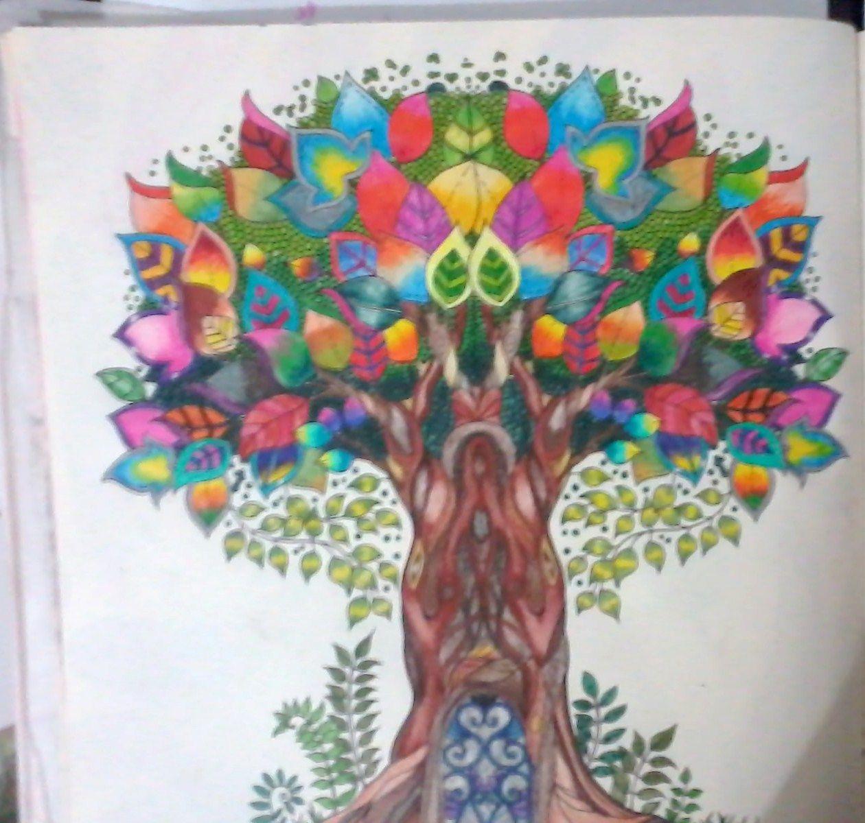 Zendoodle coloring enchanting gardens -  Rvore Johanna Basford Enchanted Forest Secret Garden Floresta Encantada Jardim Secreto