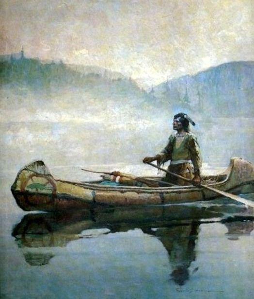 Indian In Canoe by Frank Schoonover.