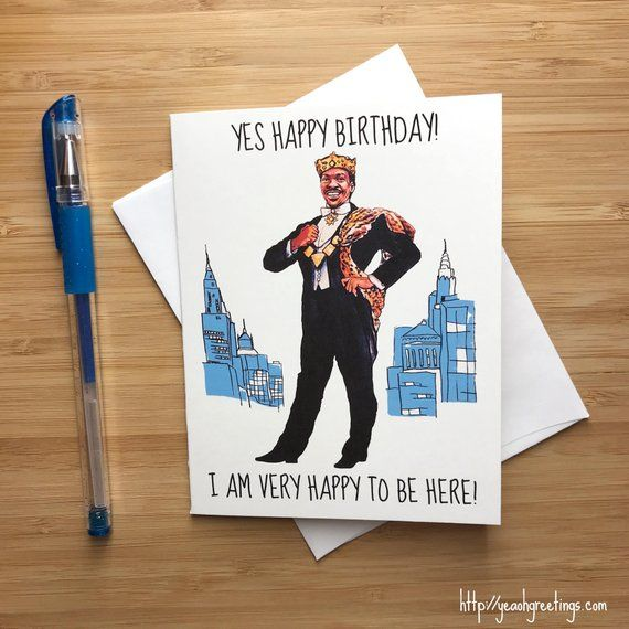 Funny Eddie Murphy 'Very Happy To Be Here' Birthday Card