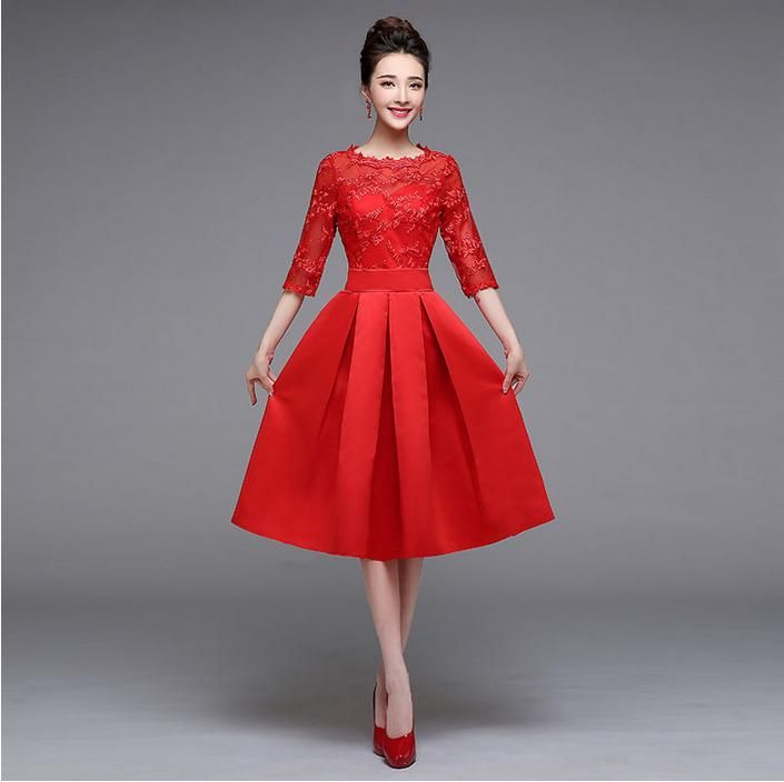 special occasion red sleeved bridal dress bridesmaid teen party dresses  2015 short from china fashion fantasy 8e13c4245553