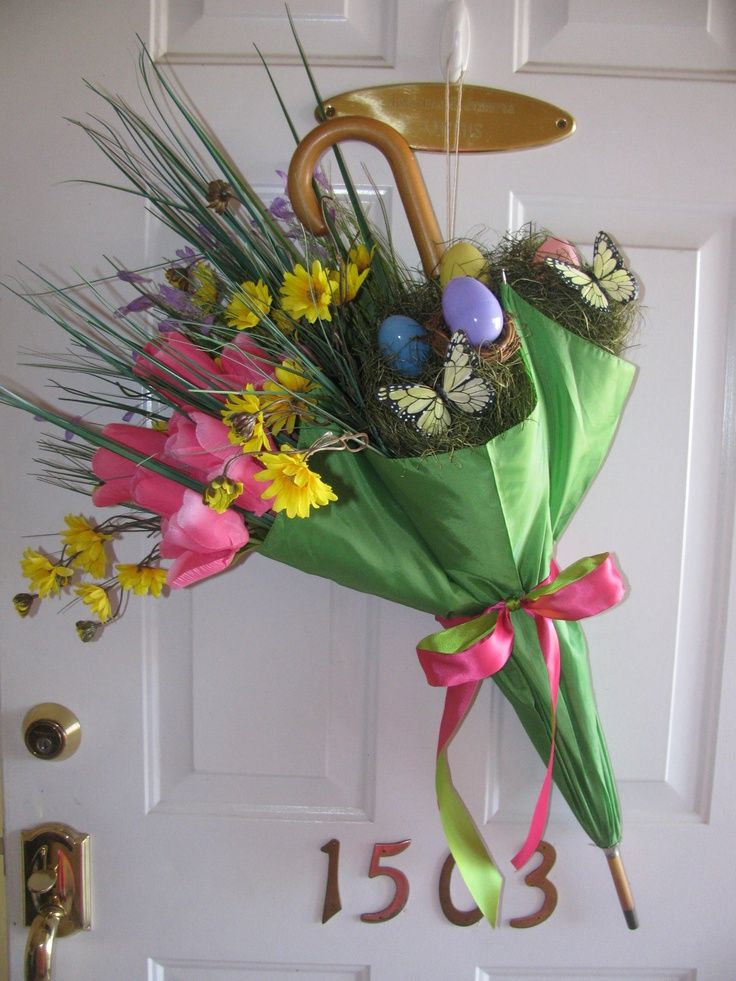 Pinterest spring decor spring easter front door decor Spring flower arrangements for front door