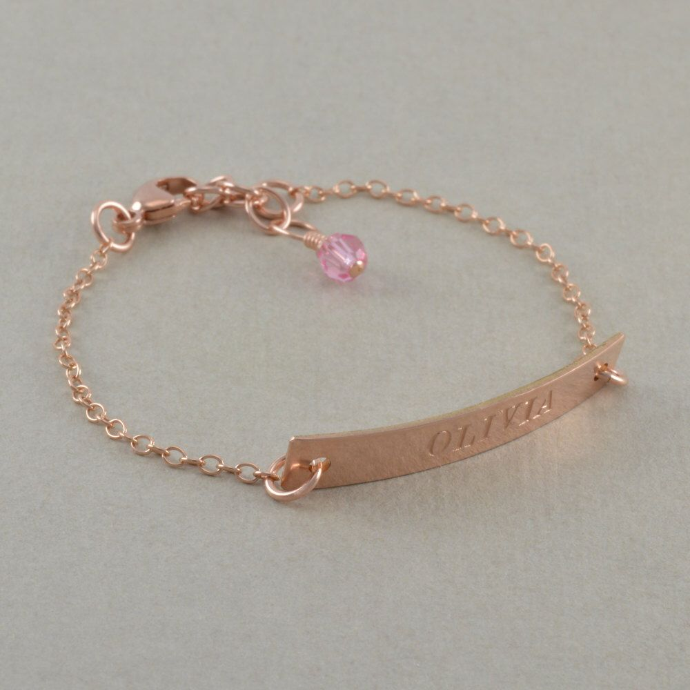 Rose gold id bracelets engraved k yellow gold stamped sterling