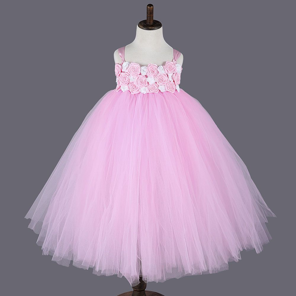 2016 Princess Pink Girl Dresses For Party Pink White Rose Flower ...