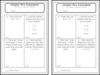 First Grade Go Math Pre Assessments By Chapter Go Math Math Guided Math