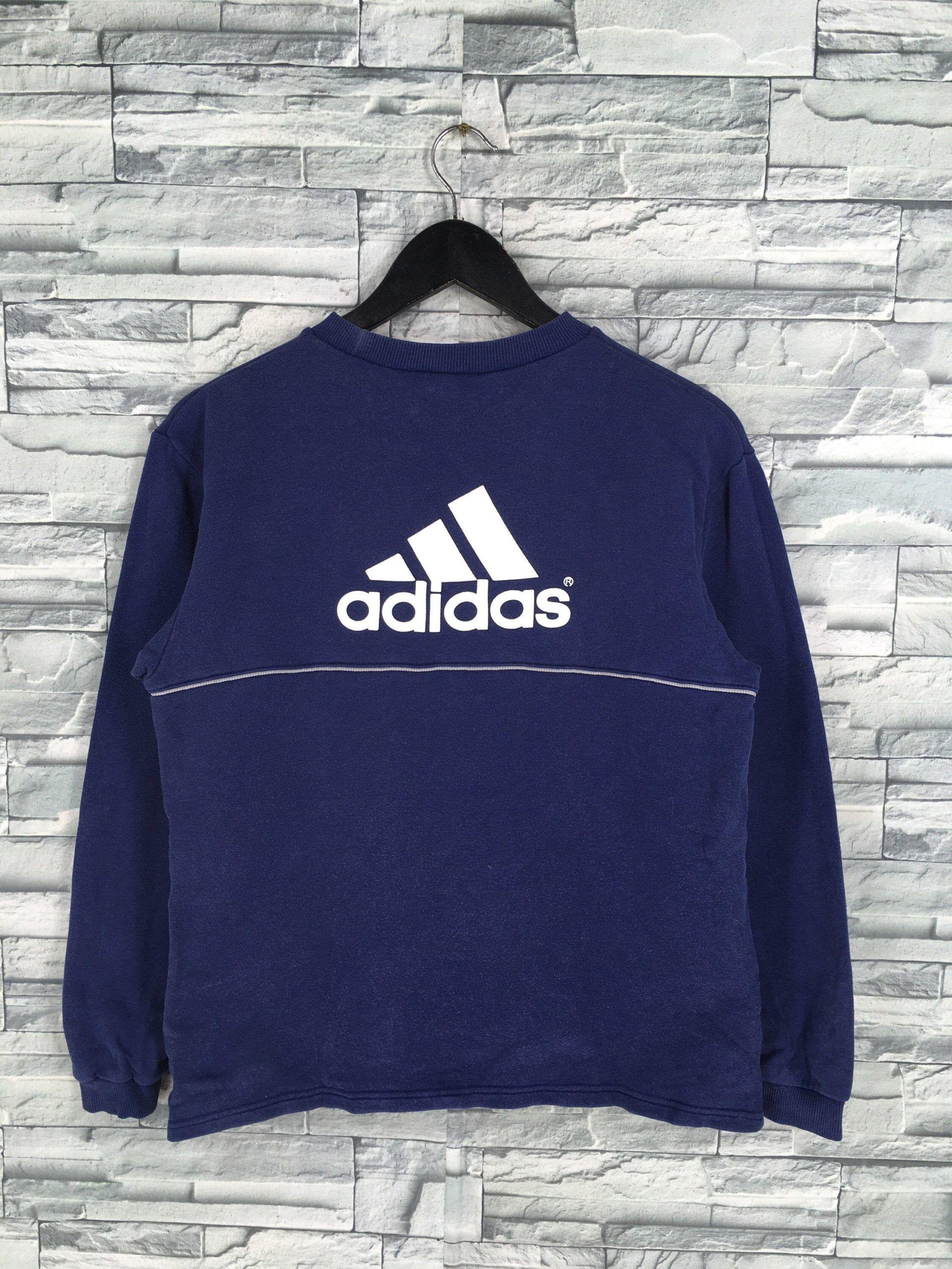 Vintage Adidas Sweatshirt Women Small Adidas Sportswear Blue Adidas Three Stripes Jumper Adidas Equipment Blue In 2020 Adidas Three Stripes Adidas Sweatshirt Blue Adidas