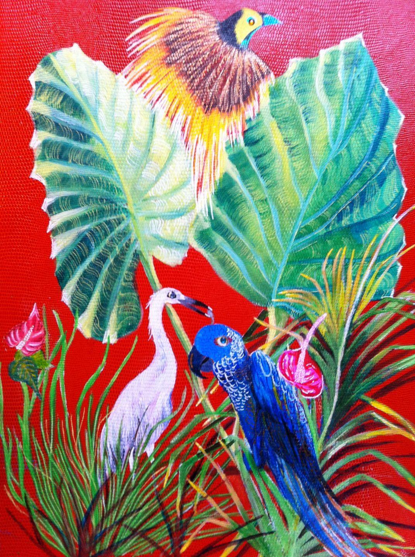 Peinture oiseaux exotiques grands feuillages perroquet for Pinterest peinture