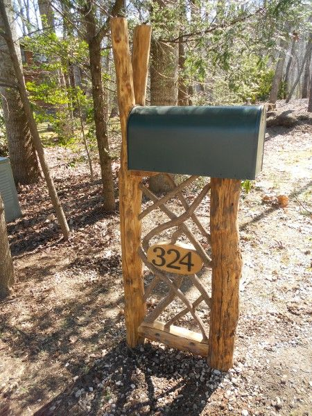 Mailbox Stand Designs : I love this custom rustic mailbox stand by appalachian