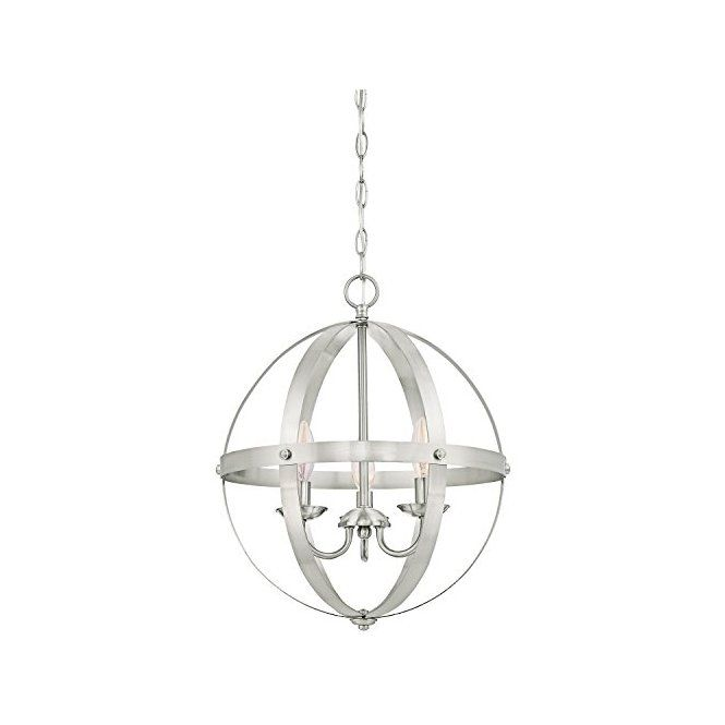 Elegant Open Sphere Centerpiece For Any Dining Space Stella Mira Pendant Brushed Nickel Finish Indoor Chandelier Iron Chandeliers Globe Chandelier