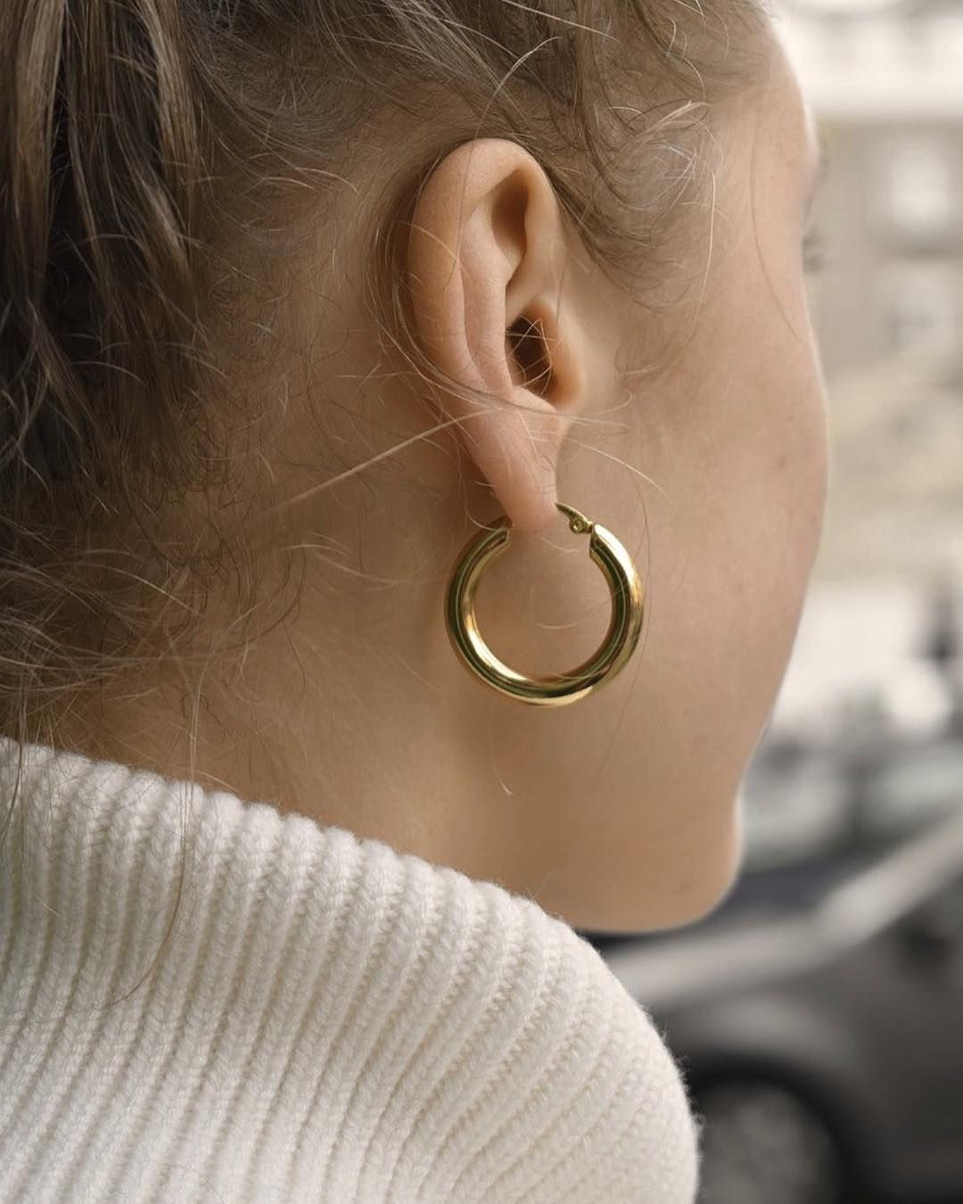 7ae555e14 COMMON MUSE Freja hoop earring in Large #jewellery #jewelry #gold #silver  #minimal #minimalism #style #fashion