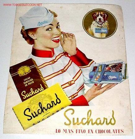 Antiguo y precioso cartel de publicidad de chocolates - Carteles publicitarios antiguos ...