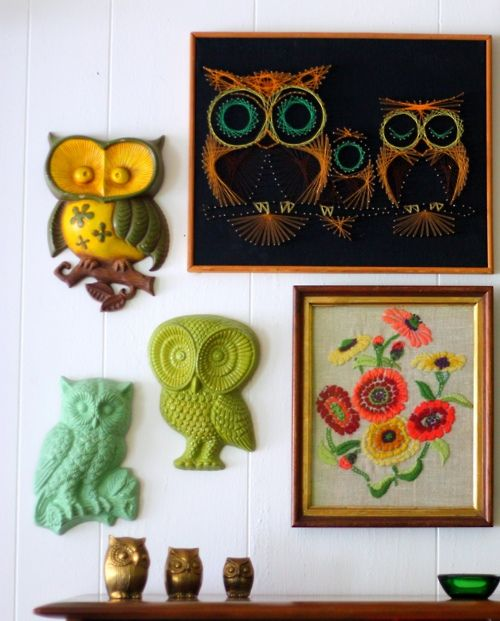 Vintage Owl Kitchen Decor: Lovely Corner With Owl Wall Decor.