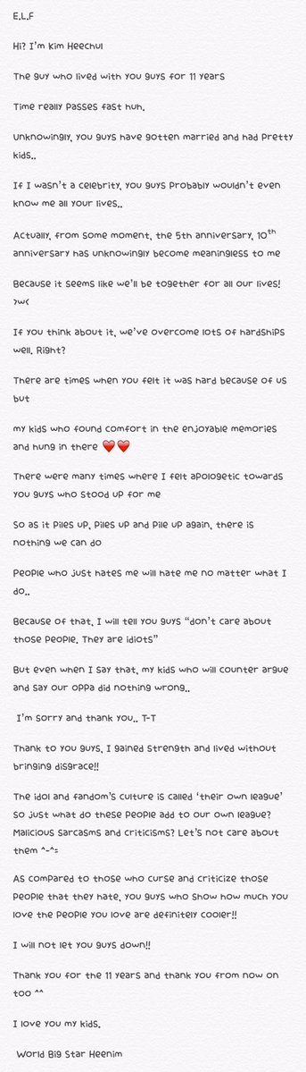 161106 Heechul\u0027s 11th anniversary letter ♡ #11yearswithSuperJunior