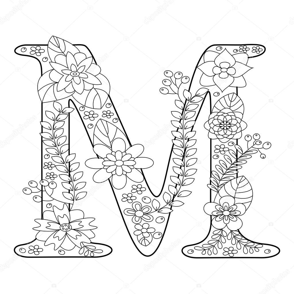 Letter M coloring book for adults vector — Stock Vector
