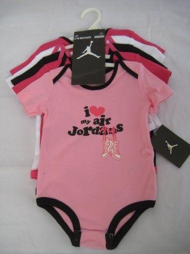 Nike Jordan Infant New Born Baby Girl Lap Shoulder Bodysuit 5 PCS with  Different Color and