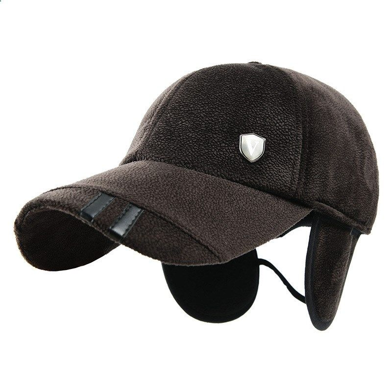 Autumn Winter Men`s Fleece Russian Baseball Cap With Ear Flaps Peaked  Fashion Thicken Snapback Thermal Outdoor Golf Hat For Male cf3dcd9a742
