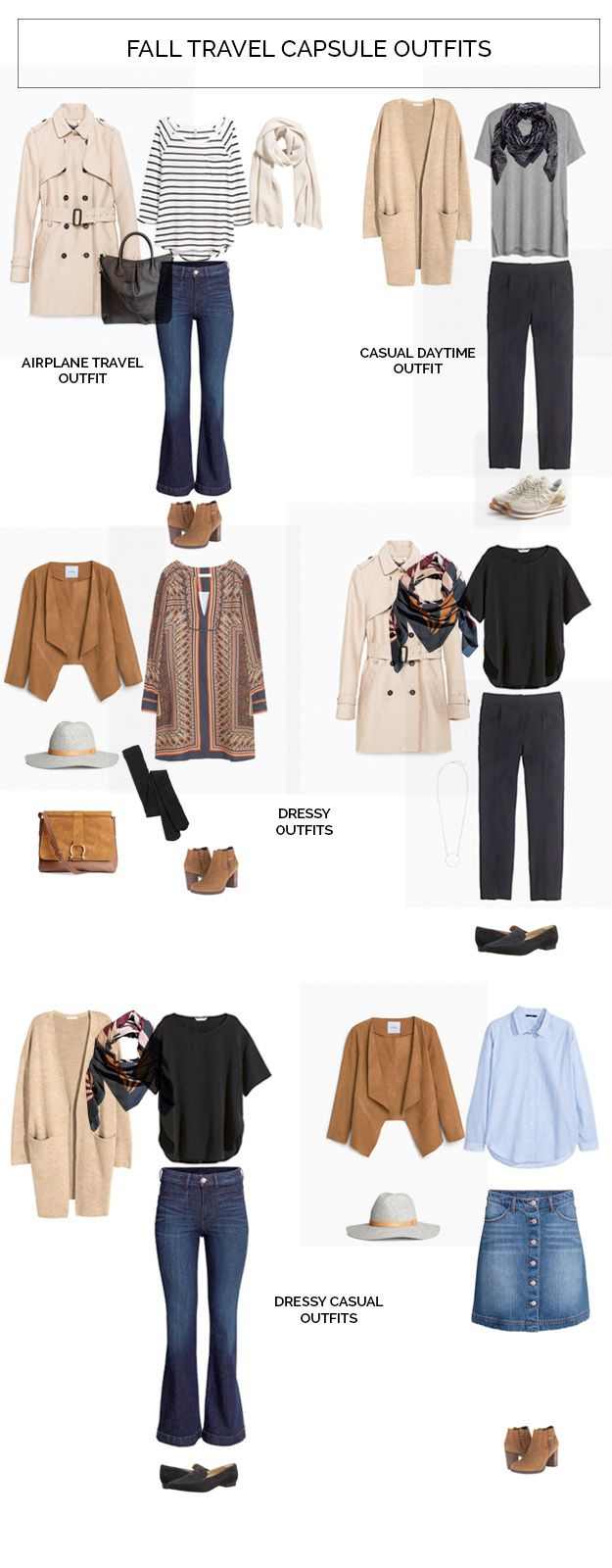 Fall Capsule Wardrobe From H M: Fall Travel Capsule Wardrobe Outfits