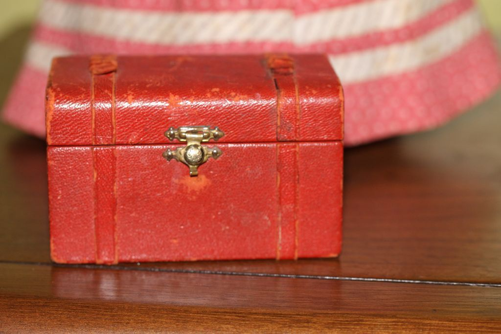 4x 2 1/4in Antique Red French Fashion , China Doll Trunk Beautiful from reddogdolls on Ruby Lane