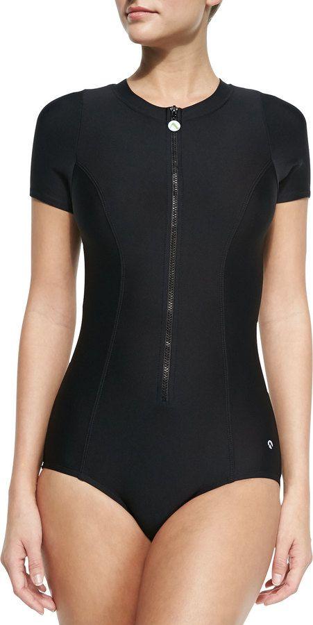 a2a00b8fa5700 Next Good Karma Malibu Zip-Front One-Piece Swimsuit | Bathing suits ...