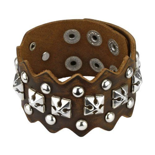 "Brown Leather Square Pyramid Cross and Round Studs Bracelet with Adjustable Snap Closure- Length: 7.48"" - 8.66"" - Width: 1.57"" WickedBodyJewelz - Leather Bracelets. $19.98"