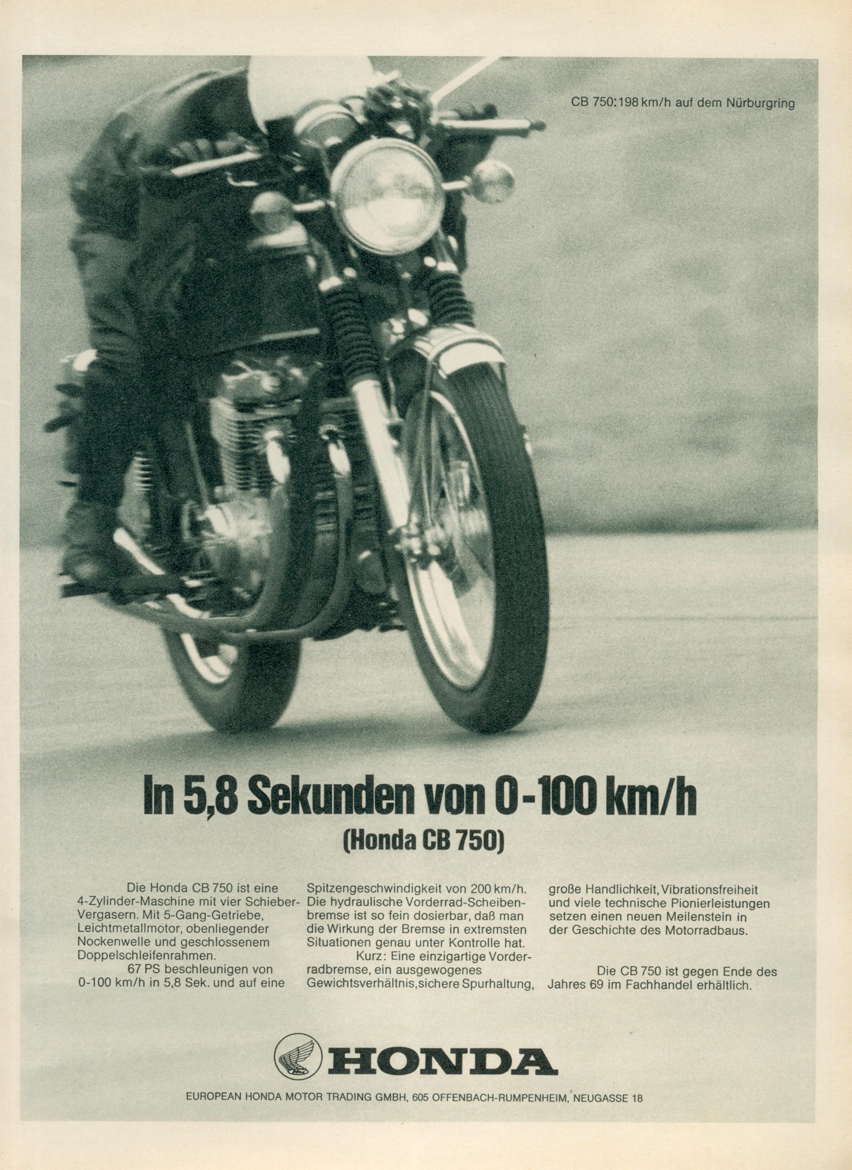 1969 Honda Cb750four K0 Advertisement Germany 01 Vintage Honda
