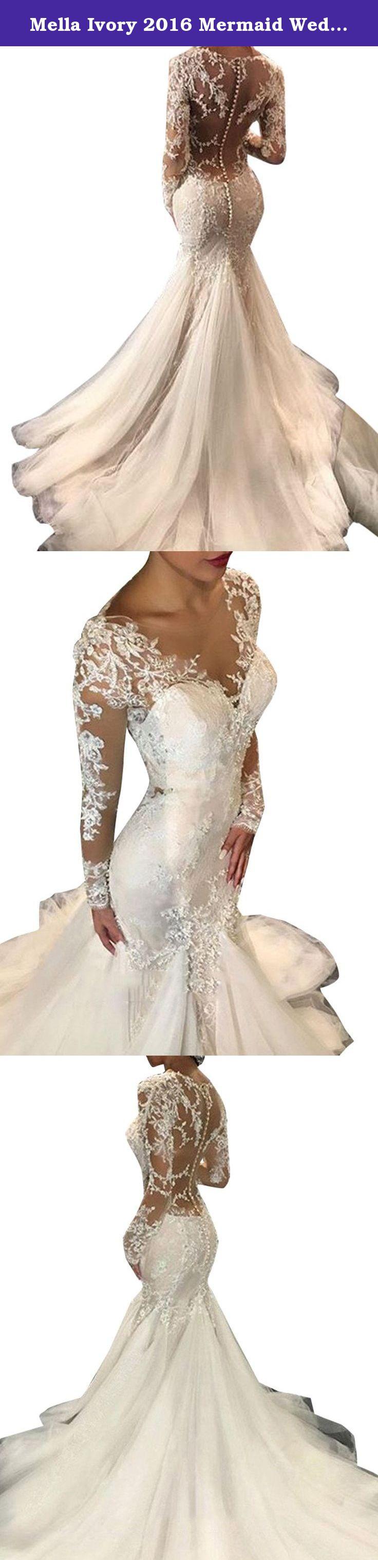 66b929761a8 Mella Ivory 2016 Mermaid Wedding Dresses Long Sleeves Lace Hand-Beaded  Sheer Back Sexy Bridal