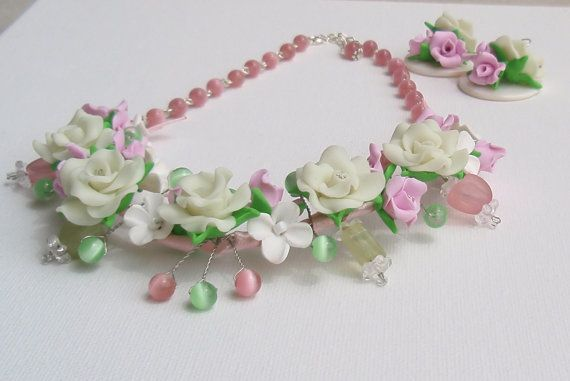 Valentine jewelry  Flower necklace and earrings   by insou on Etsy, $37.00