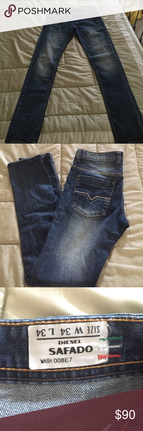 Diesel Safado Jeans For men. Size 34W and 34L. Wash 008E7. Like new! Diesel Jeans Skinny