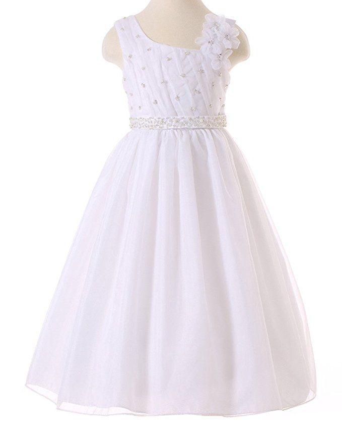 459194531b4 Amazon.com  Bow Dream Flower Girl Dress First Communion Dress White 4   Clothing