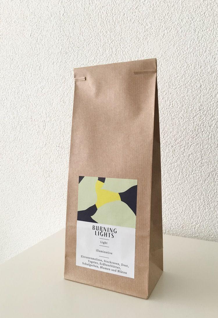 Burninglights organic swiss tea, Light , tea packaging,