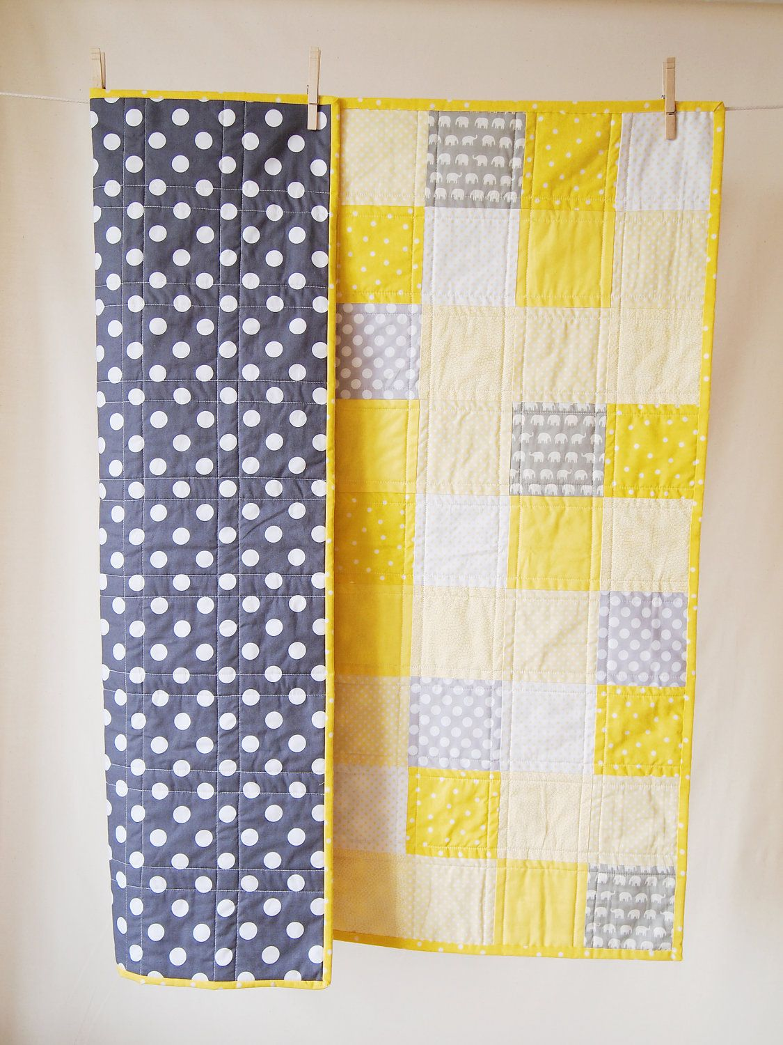 BABY QUILT Modern Bright Yellow and Grey Baby Quilt | Quilt modern ... : bright yellow quilt - Adamdwight.com