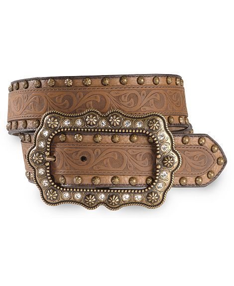 womens justin cowboy belt | Womens Womens Belts & Buckles Belts Justin Abilene Tooled Leather ...