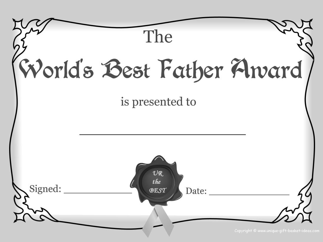 Worlds Greasest Dad Certificate Award Images White And Black Free Printable Best Father Award Black And White Good Good Father Best Dad Fathersday Card