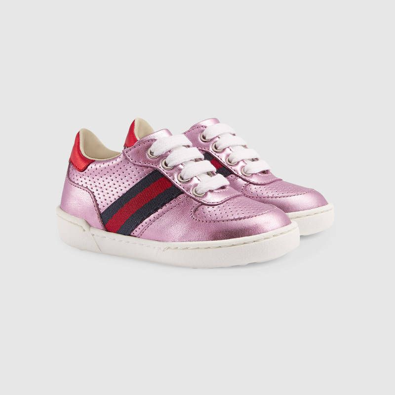 425597a9cc2 Gucci Toddler metallic leather sneaker with Web Detail 2