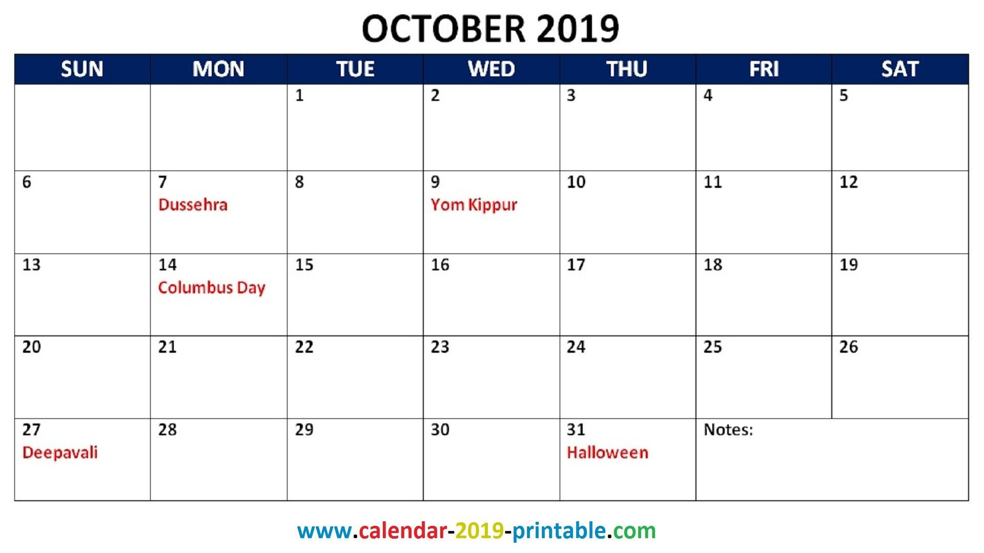 2019 Monthly Calendar With Holidays October Calendar Holiday
