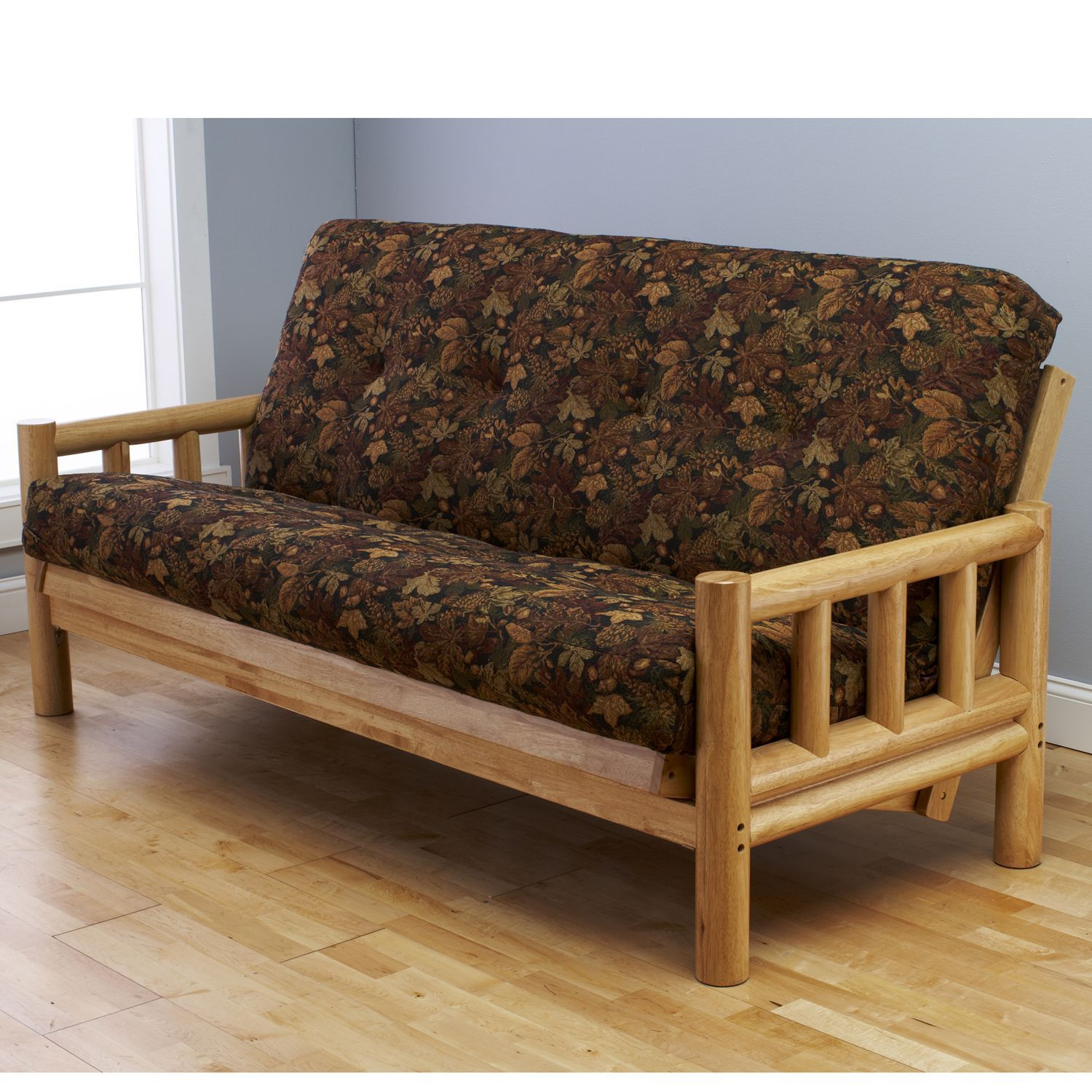 Somette Aspen Lodge Natural Full Size Futon Frame With Autumn Leaf Innerspring Mattress Set By
