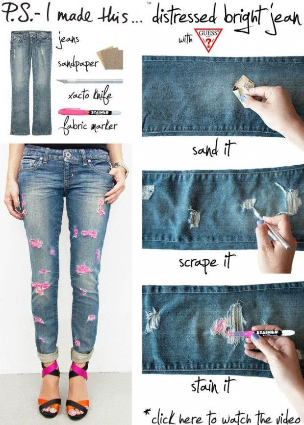 Top 10 diy tricks for your boring old jeans diy fashion diy 24 stylish diy clothing tutorials solutioingenieria Gallery
