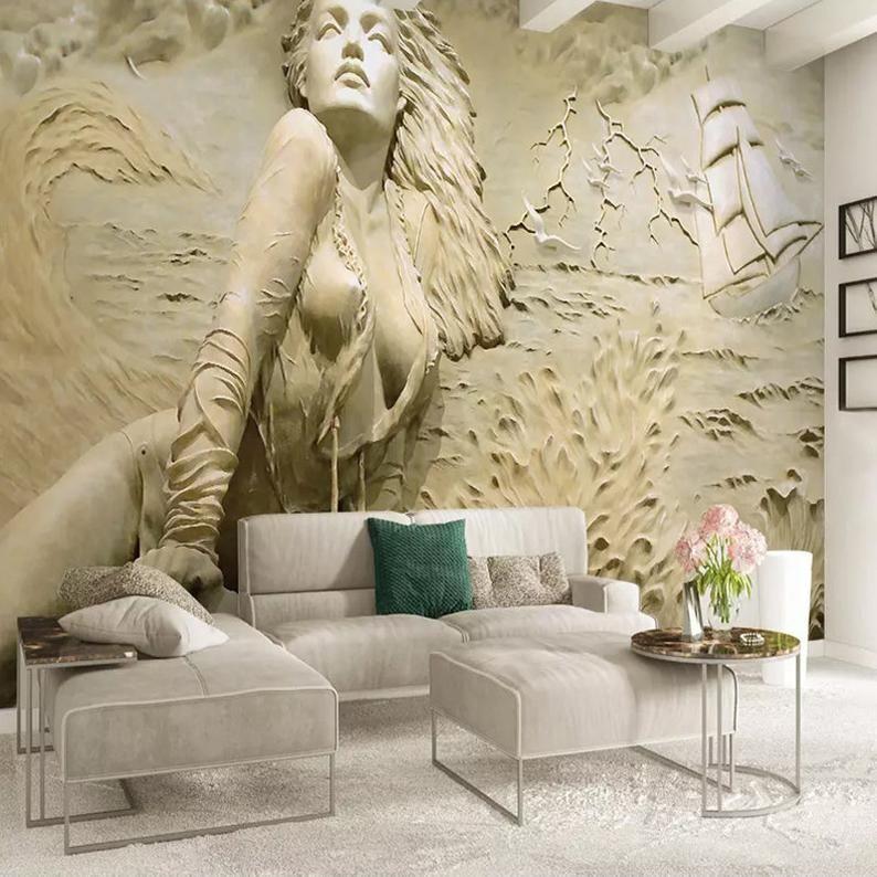 Custom Wall Mural Art Wall Painting European Style Golden 3d Stereoscopic Relief Sea Wave Sailboat Beauty Photo Wallpaper Murals Mural Wall Art Mural Wallpaper Custom Wall Murals