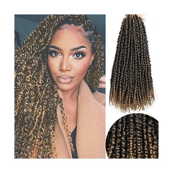 Vigorous Pre-twisted Passion Twist Crochet Hair 18 Inch Spring Twist Pre-looped Passion Twist Bomb Twist Synthetic Hair Extension for Black Women 8 Packs (T1B/27)