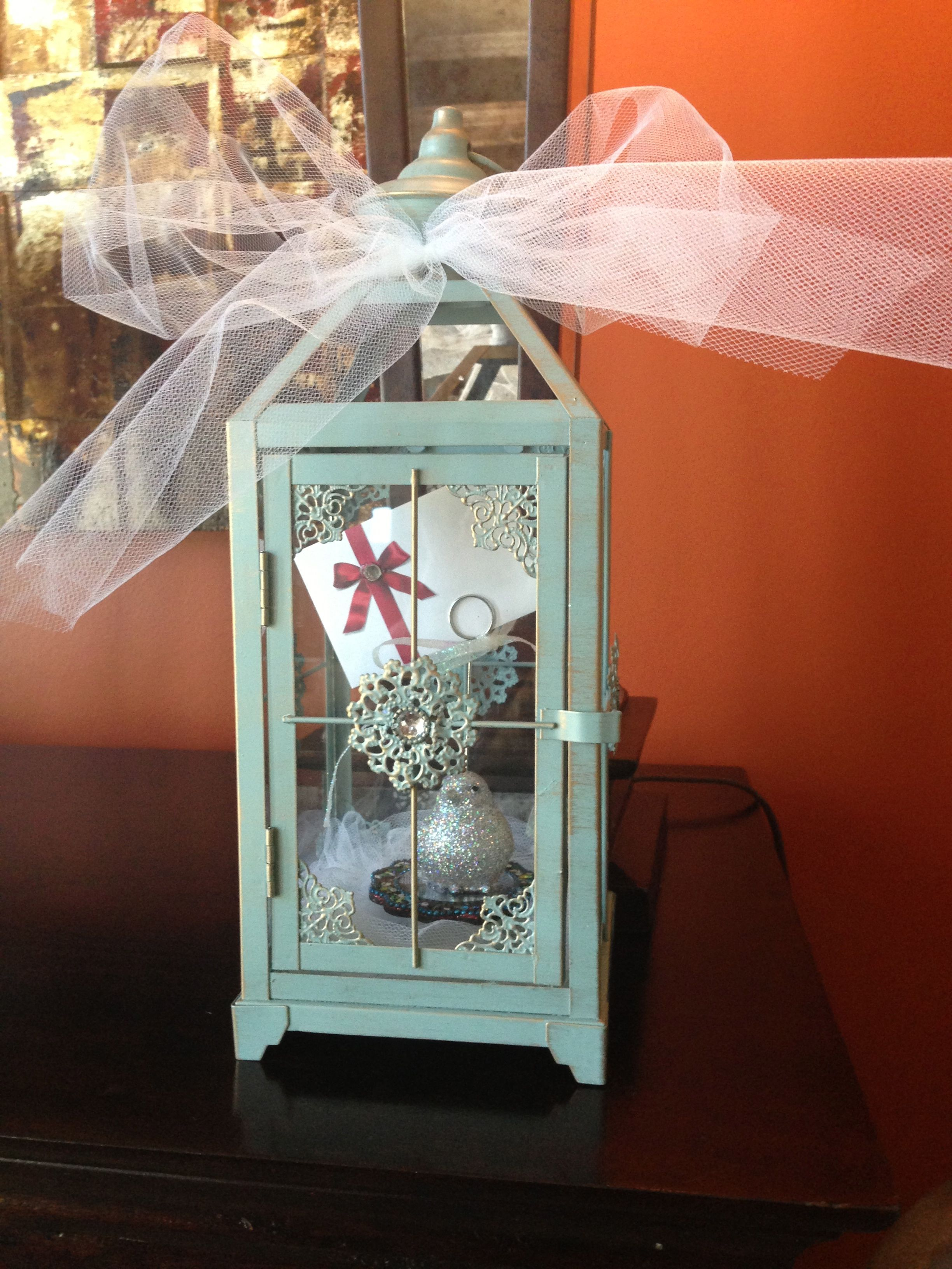 Cute And Creative Way To Give A Gift Card This Particular One I Made Was For A Bridal Shower I Purc Lantern Gift Gift Card Presentation Wedding Shower Gift