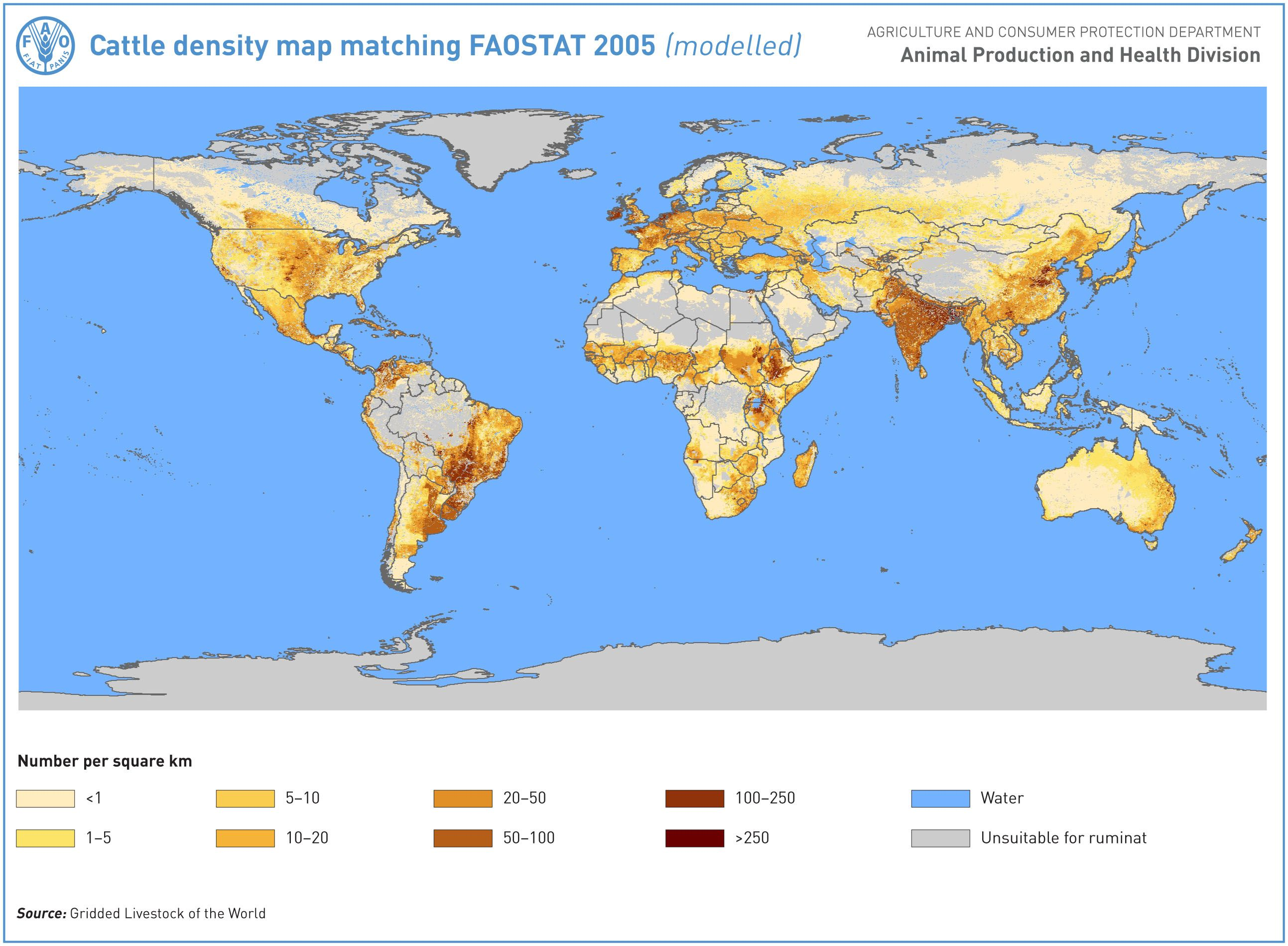 Cattle Density Heads Per Square Km 2005 Map Historical Maps