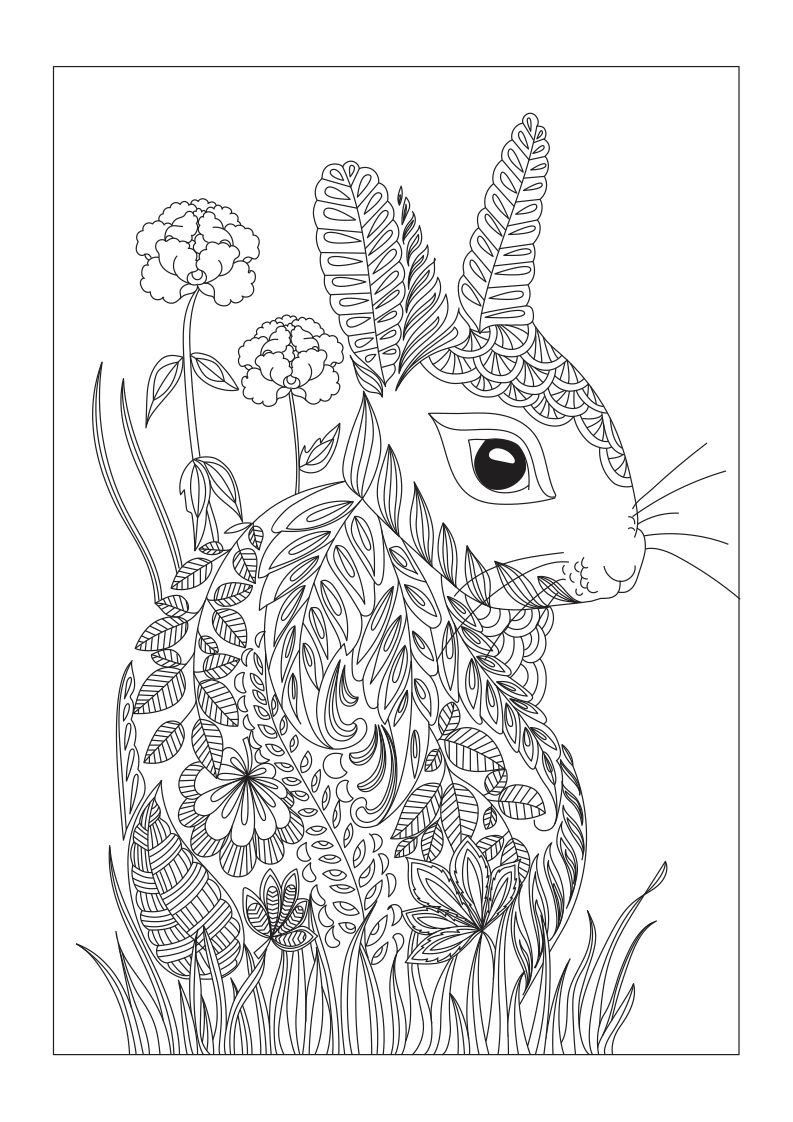 Peter Rabbit Coloring Pages Luxury Free Rabbit Or Hare Coloring Page Made Of Leaves And Flowers Bunny Coloring Pages Coloring Books Coloring Pages