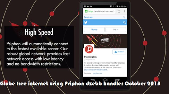 Globe free internet using Psiphon dzebb handler October 2018
