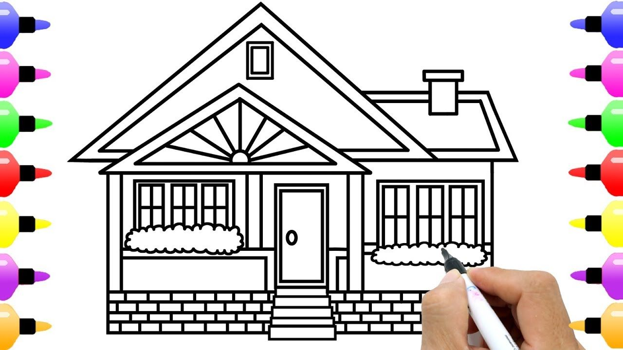 How to draw house for kids learn color with colored marker coloring pages for children