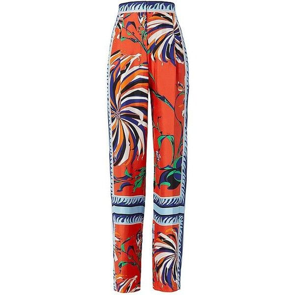Emilio Pucci Abstract Print Silk Pant (35,590 MXN) ❤ liked on Polyvore featuring pants, patterned trousers, pleated trousers, silk print pants, print pants and pocket pants