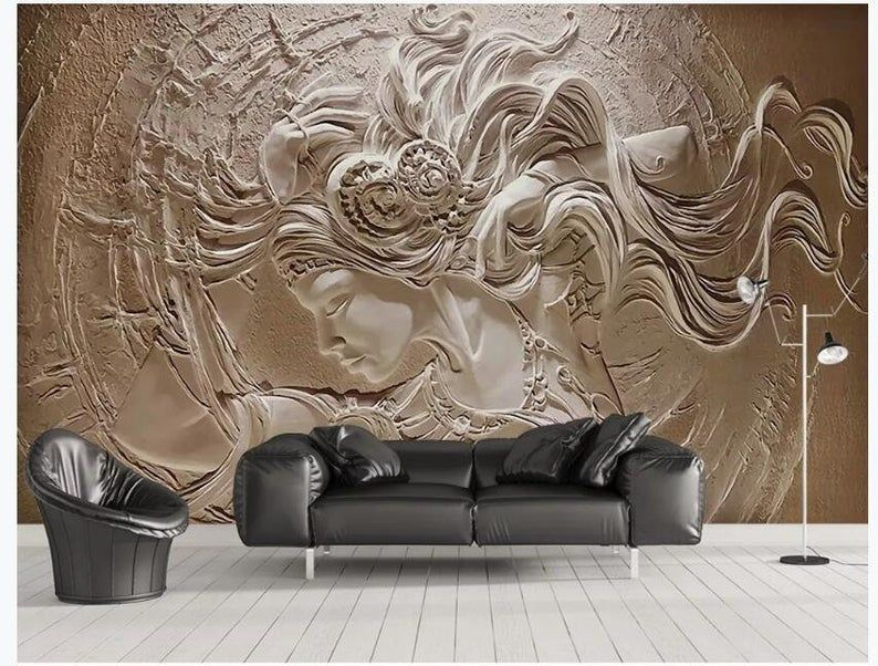 Custom Wallpaper 3D Stereoscopic Embossed Beauty Wall