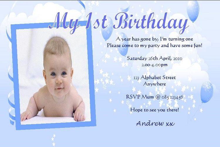 birthday card samples for 1st birthday