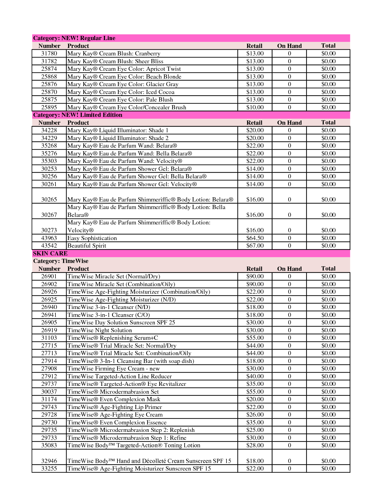 Mary Kay Inventory Template